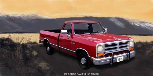 1989 DODGE RAM PICKUP TRUCK (RED) MAGNET