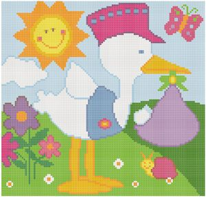 Stork Brings the Baby Birth Cross Stitch Pattern Chart