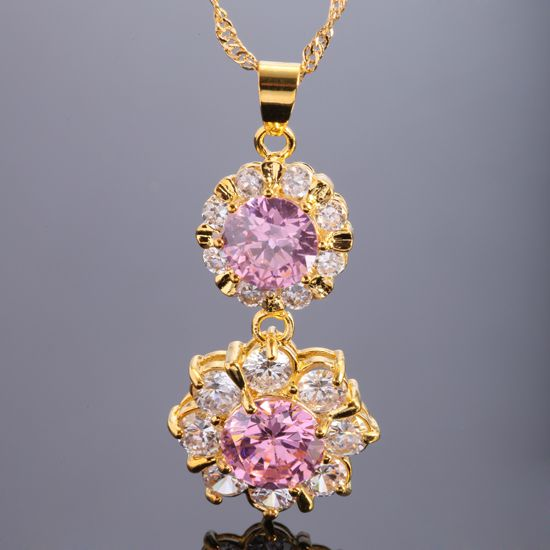 30% OFF Fashion Jewelry Pink Sapphire Round Cut Gold Tone Pendant