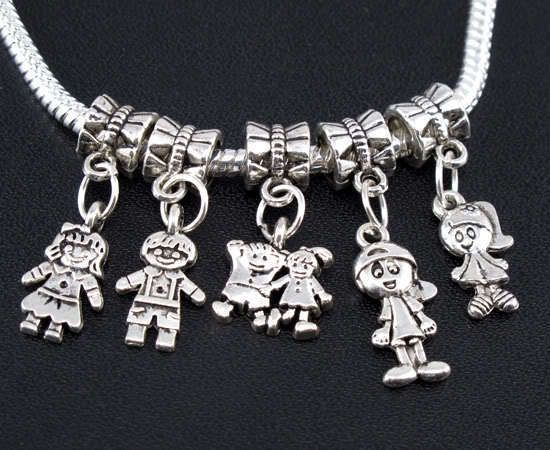 Mix 100pcs Tibetan Silver Boy/Girl Charms Beads fit European bracelet