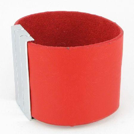 H859 REAL Red Leather Fashion Design Punk Rock Wristband/Cuff Men