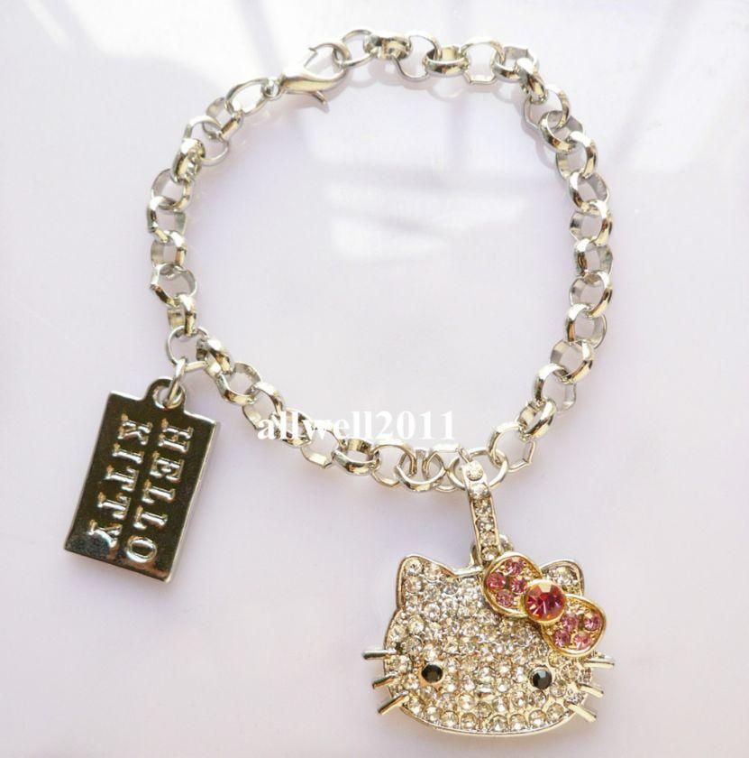 Crystal Bling Hello Kitty Bracelet Rhinestone Fashion Jewelry SUPER