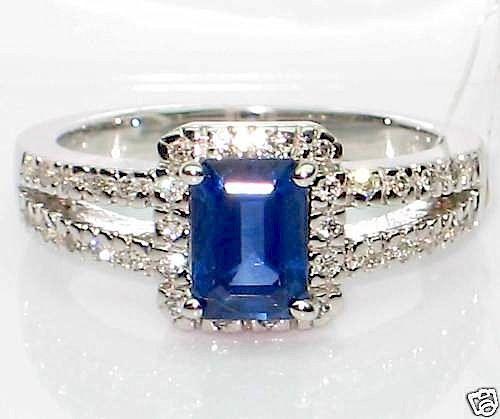 Emerald Cut Blue Sapphire & Diamond Ring 18K White Gold