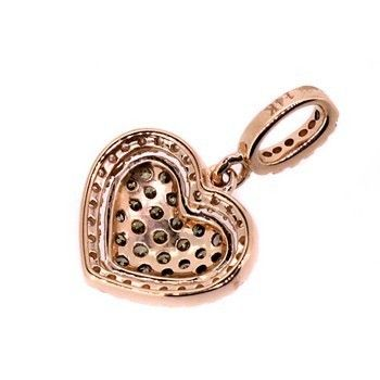BROWN WHITE DIAMOND HEART PENDANT NECKLACE 14k ROSE PINK GOLD